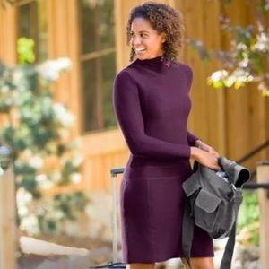 Athleta Riverhead Purple Ribbed Sweater Dress M